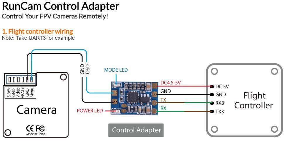 Connect RunCam Camera Control Adapter